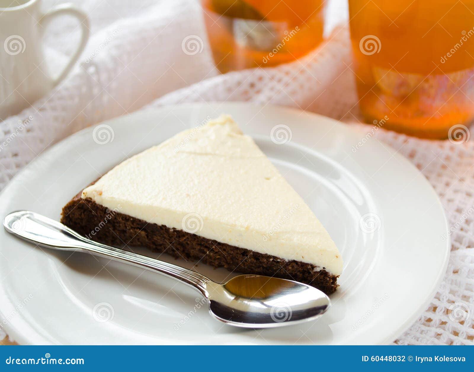 Homemade Chocolate Pie With Cream Cheese Stock Photo - Image: 60448032