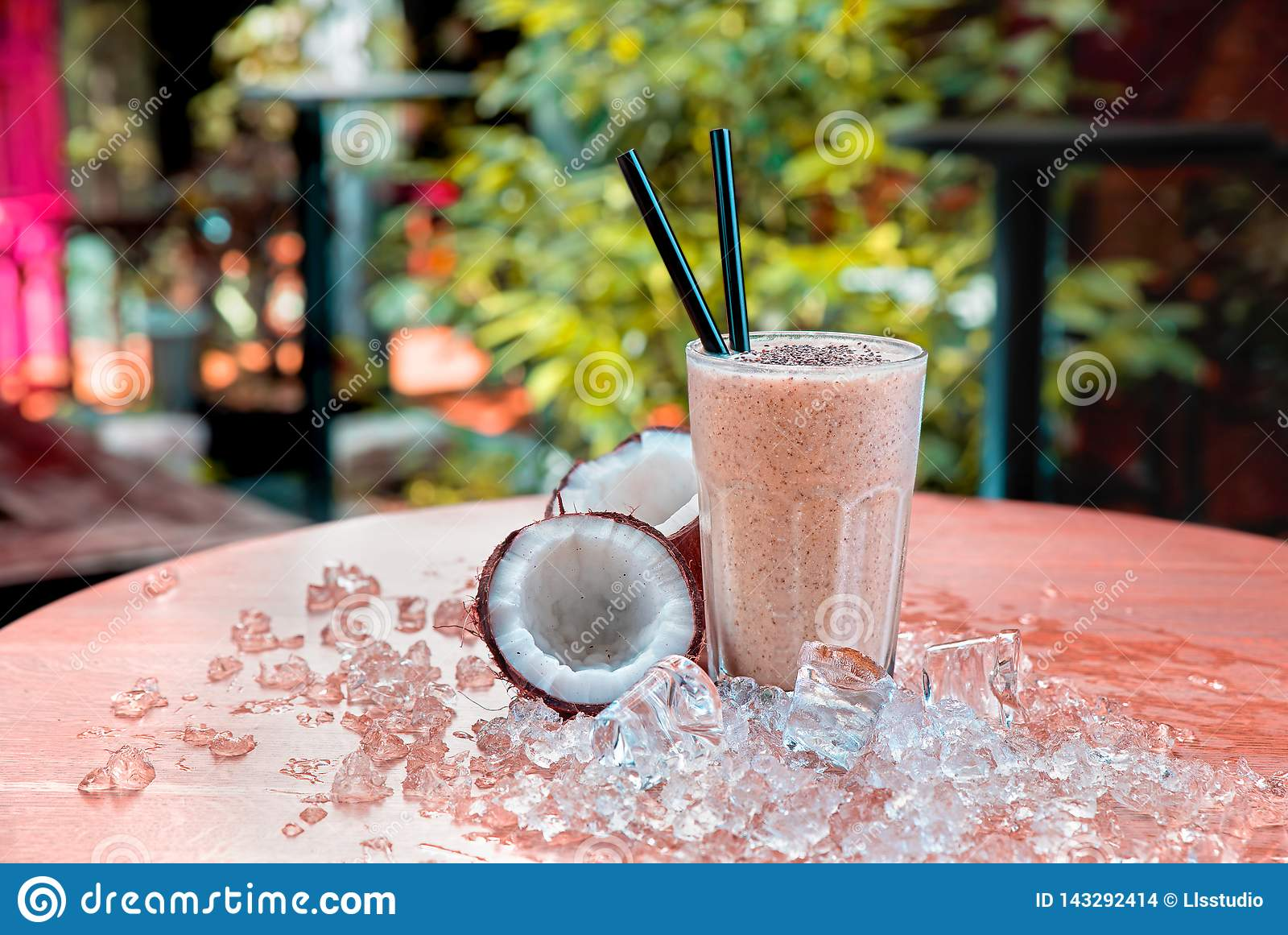Homemade chocolate shake with coconut and chia seeds