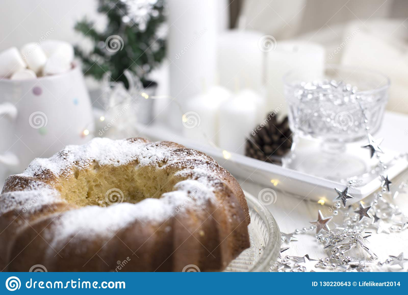 Homemade Christmas Cake With Christmas Decoration Stock Image