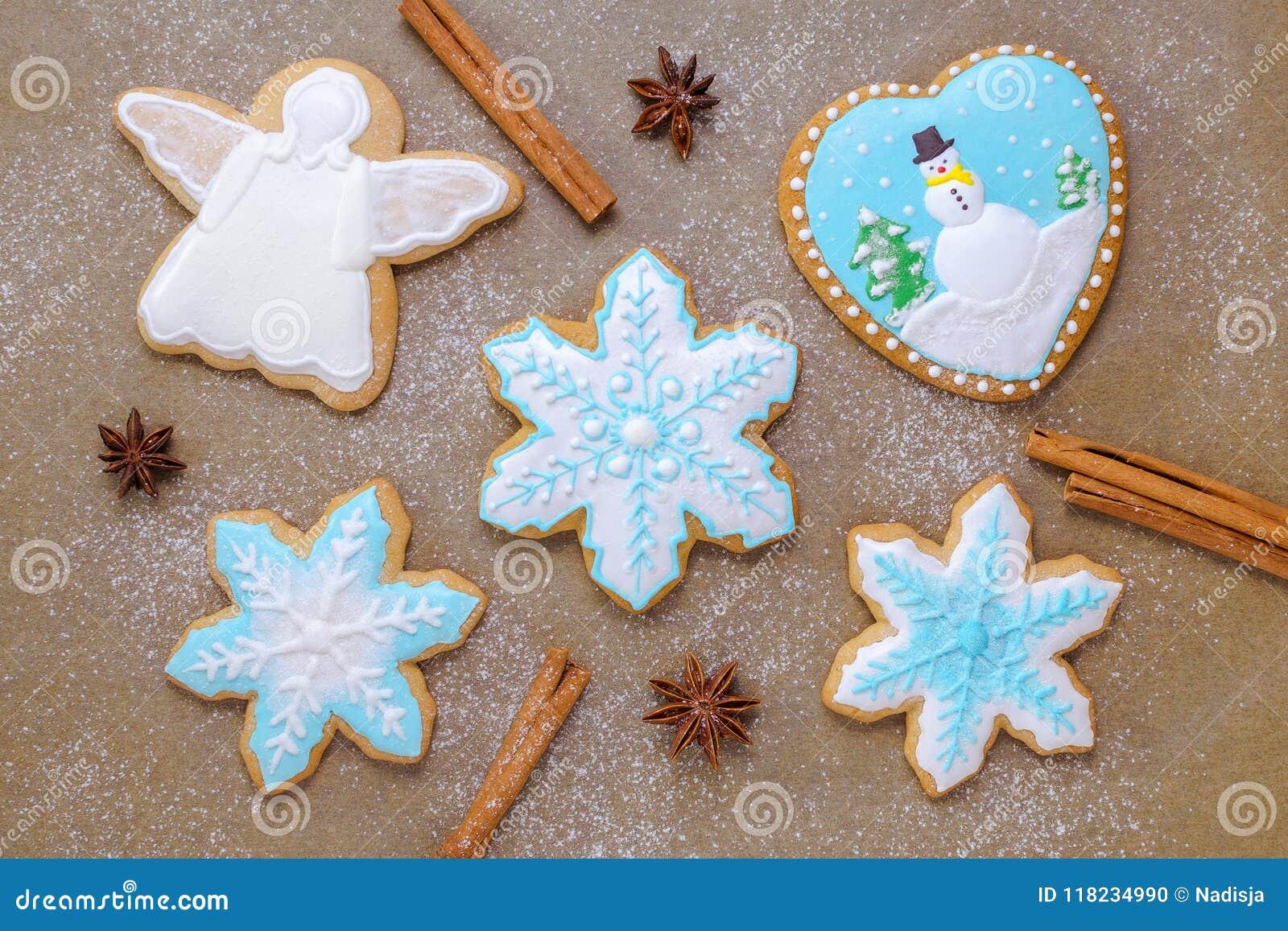 Homemade Christmas Cookie Like Snowflake And Angel With Cinnamon