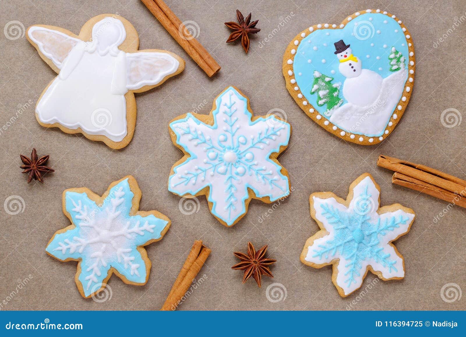 Homemade Christmas Cookie Like Snowflake And Angel With Cinnamon And
