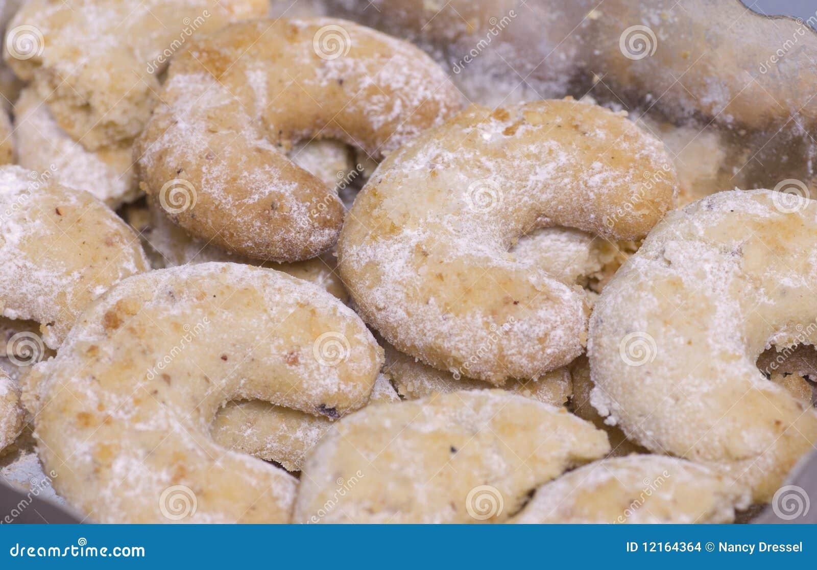 Some homemade christmas cookies as a closeup image vanilla kipferl S99GfXU4