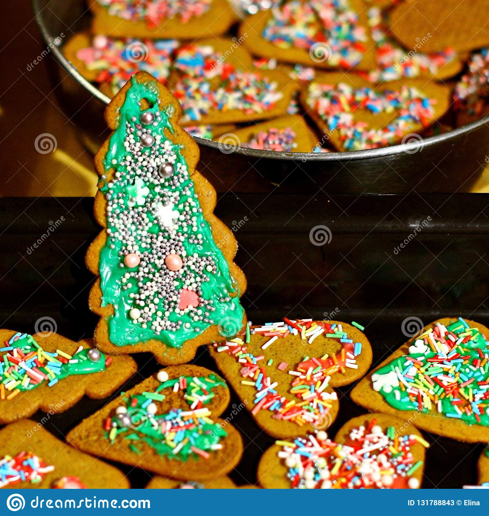 Homemade Christmas Cookies In Baking Dishes Stock Image Image Of