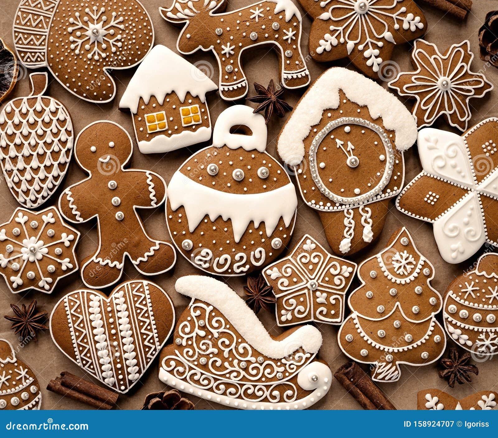 Christmas Cookies December 2020 Homemade Christmas Cookies On Brown Paper Stock Image   Image of