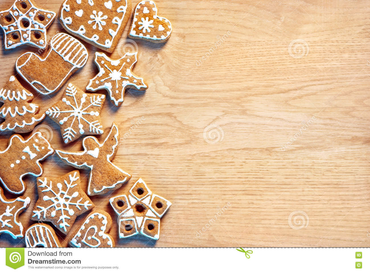 Homemade Christmas Cookies On Wooden Background Copy Space For Your