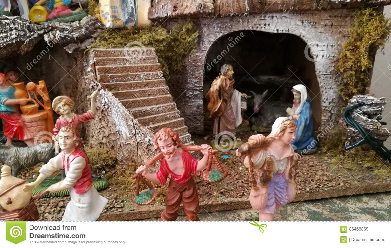 Download Homemade Christmas Crib Women Details Home Stock Image