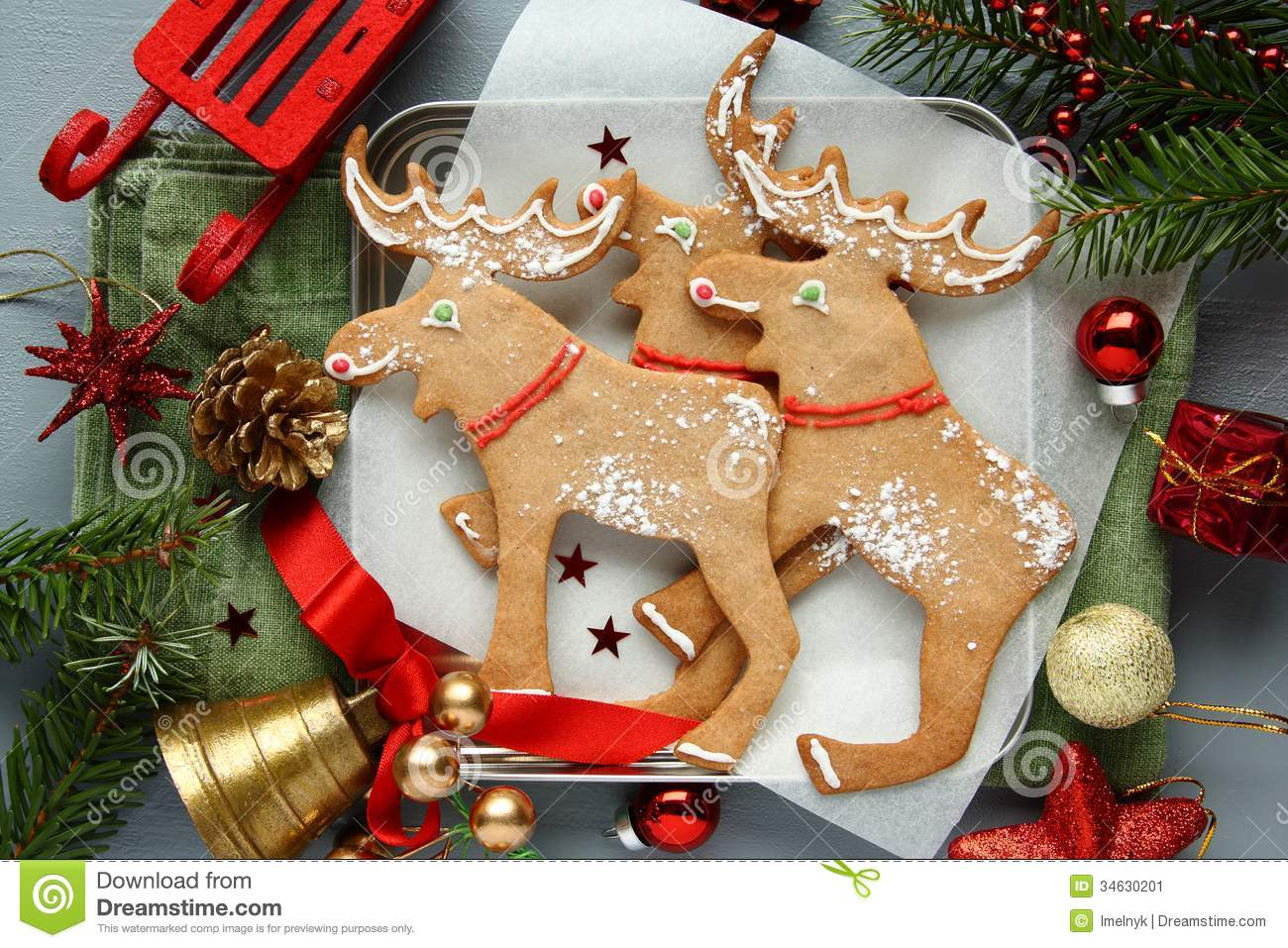 homemade christmas elk shaped cookies with christmas decoration stock image image 34630201. Black Bedroom Furniture Sets. Home Design Ideas