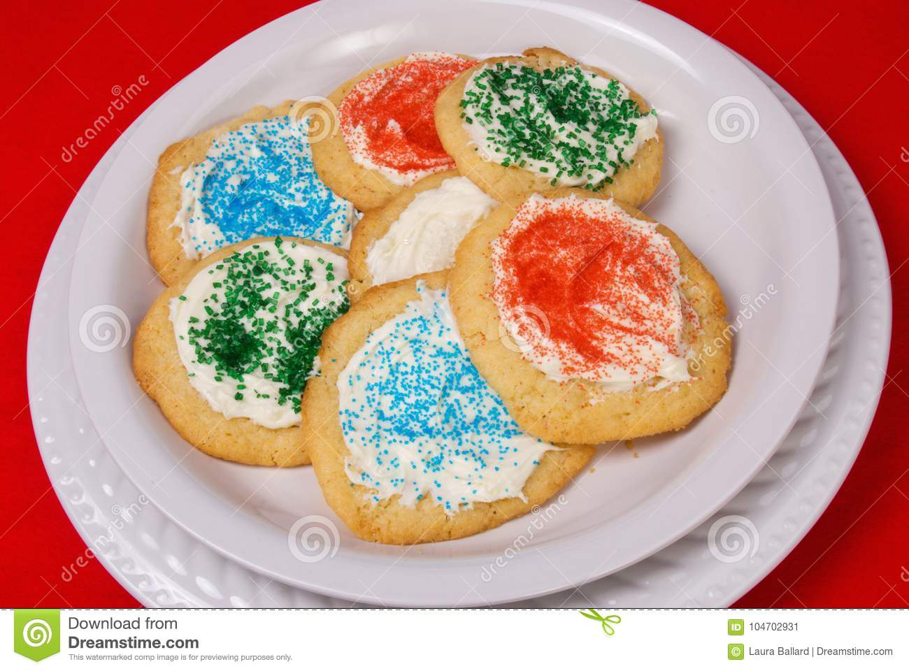 Homemade Christmas Sugar Cookies On A White Plate Stock Image
