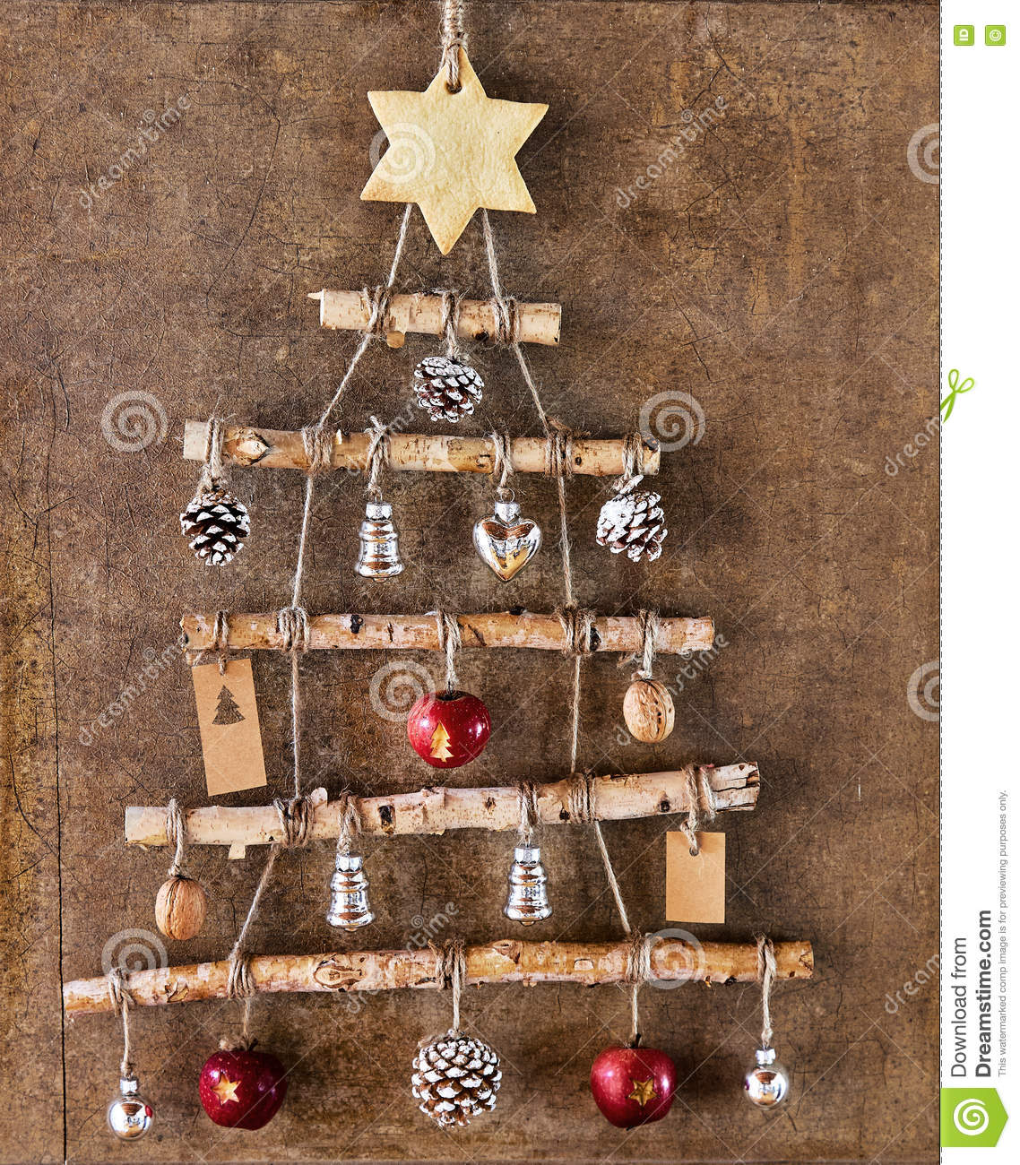 Homemade Christmas Tree Decoration In Frame Stock Photo Image Of
