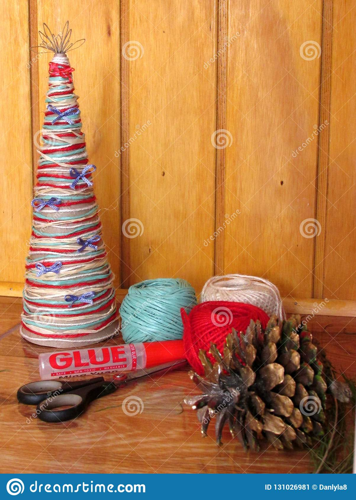DIY homemade Christmas tree. Materials for Christmas crafts project. Do-it-yourself. Christmas tree decorations.