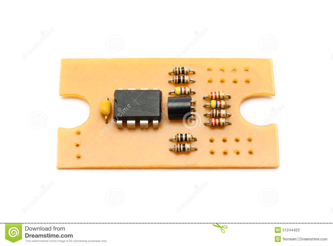Homemade Circuit Board With Components Stock Image Of Hole A
