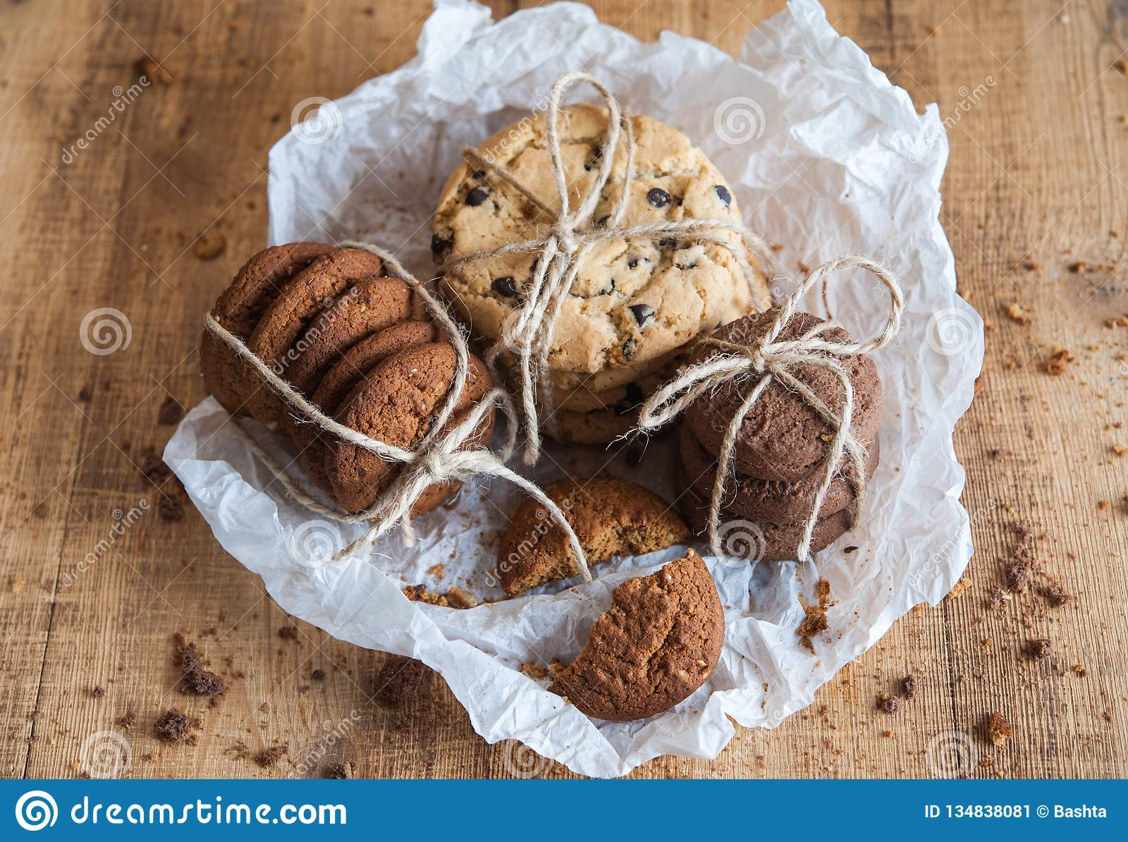 Various Shortbread Oat Cookies Chocolate Chip Biscuit Stock Image