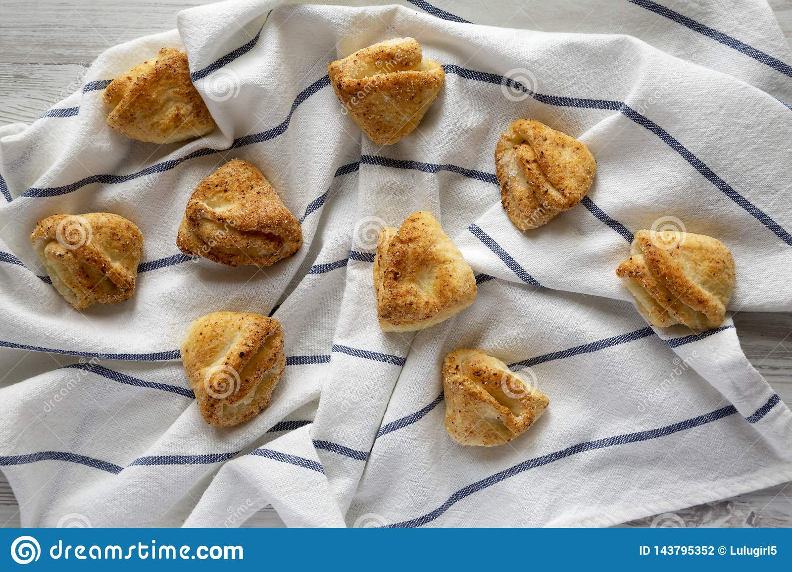 Homemade Cottage Cheese Biscuits On Cloth, Overhead View ...