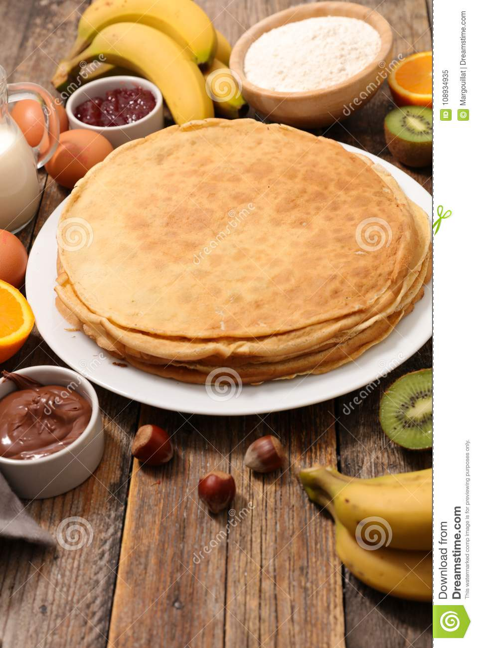 Homemade crepe and fruit