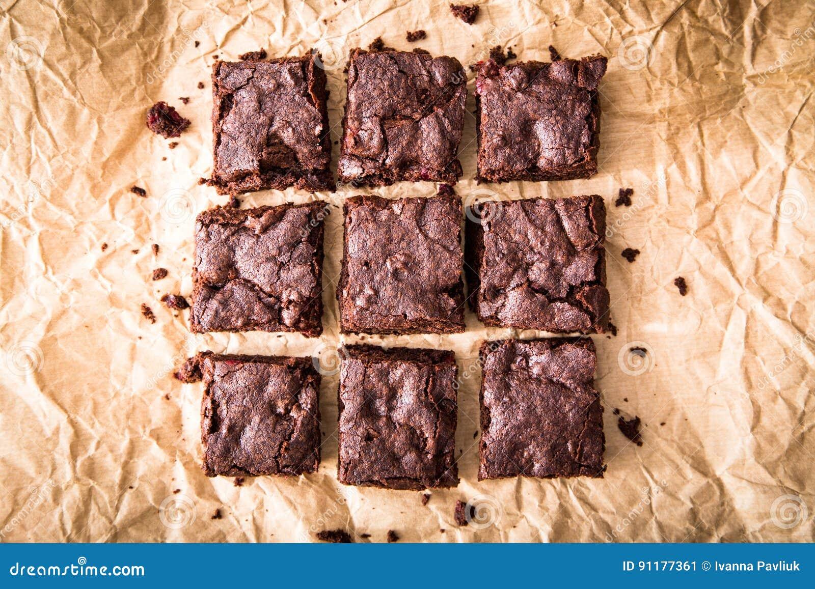 Homemade Delicious Chocolate Brownies. closeup chocolate cake
