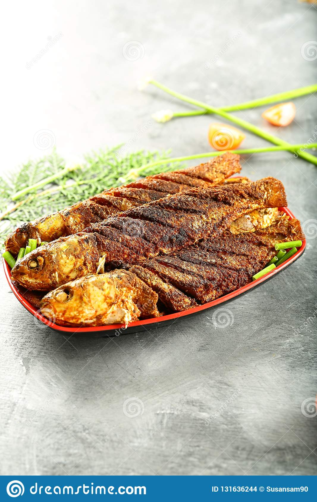 Indian Recipe Grilled Fish With Exotic Spices Stock Photo Image