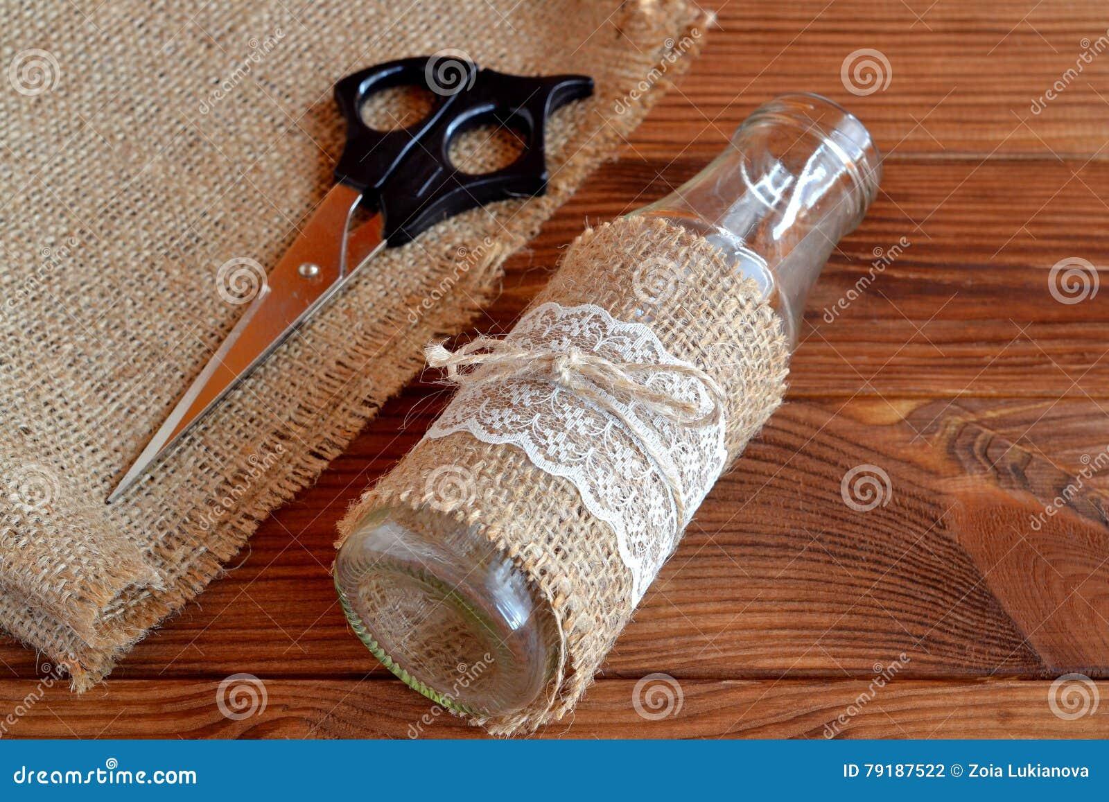 Homemade Diy Glass Bottle Scissors Burlap Handmade Vase On A