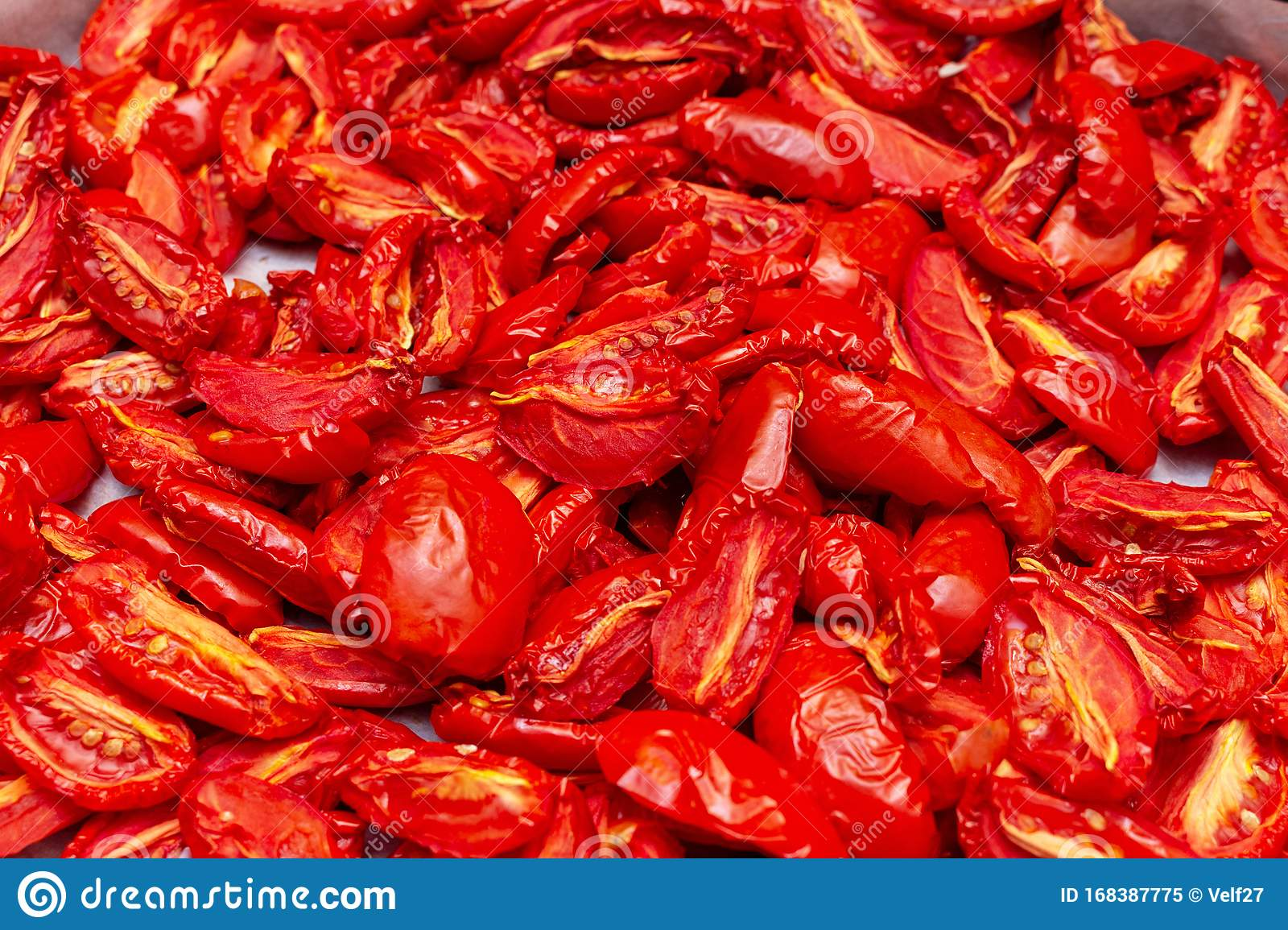 Homemade Dried Red Tomatoes Slices With Basil Oregano Spices Cooking Process Traditional Italian Mediterranean Kitchen Cuisine Stock Image Of Preservation Dish 168387775