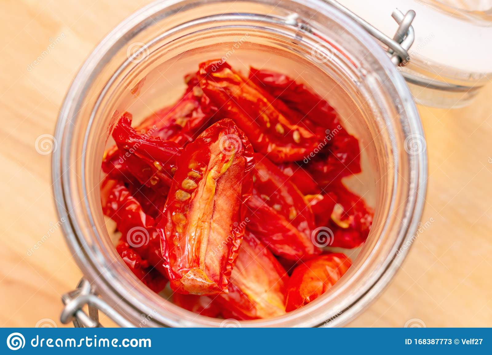 Homemade Dried Red Tomatoes Slices With Basil Oregano Spices In A Glass Jar Traditional Italian Mediterranean Kitchen Cuisine Stock Image Of 168387773