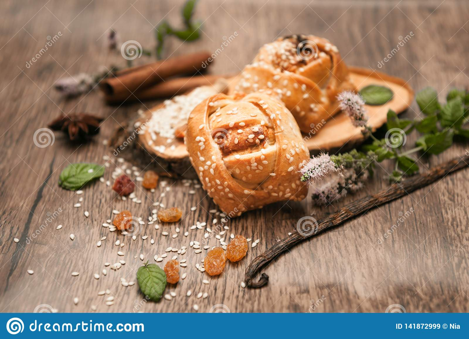 Homemade Easter Cake Cyprus Cheese Pies Flaounes Stock Image