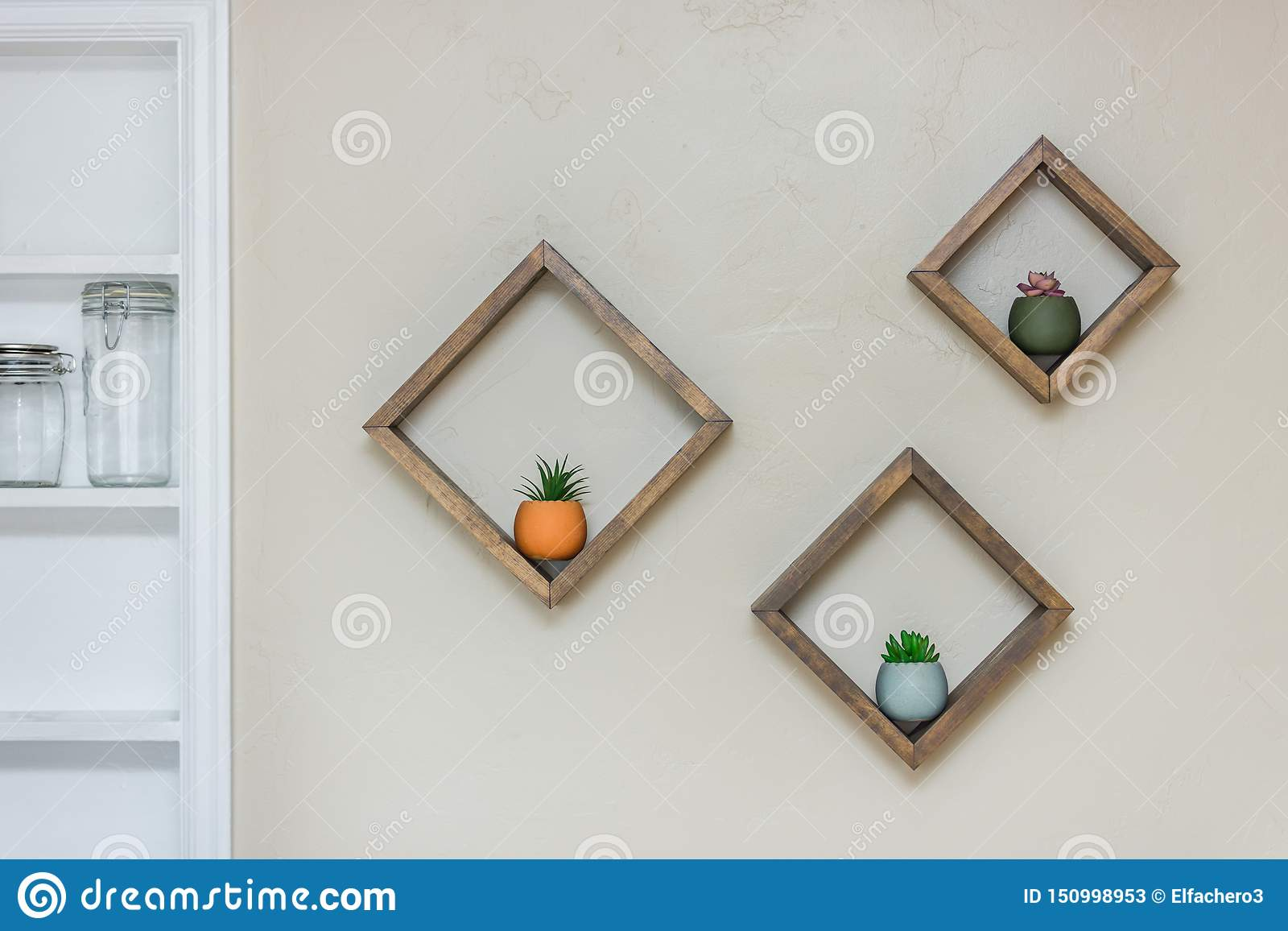 homemade floating shelves wall diamond shaped filling succulents