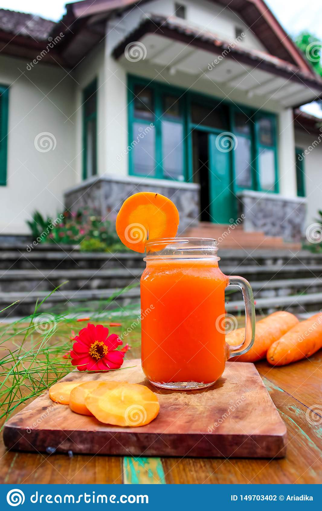 Homemade fresh carrot juice