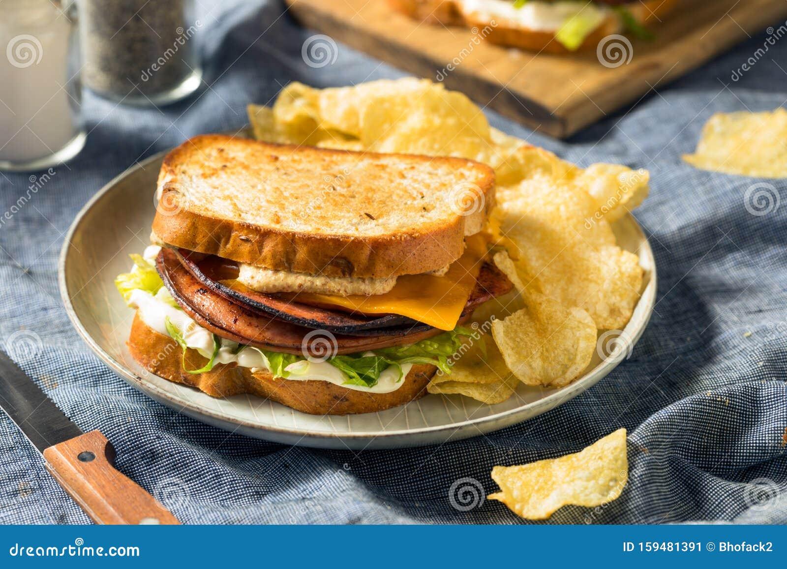 Homemade Fried Bologna Sandwich Stock Image - Image of ...