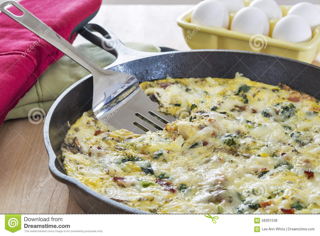 Homemade Fritata Made With Broccoli, Bacon, Spinach And ...