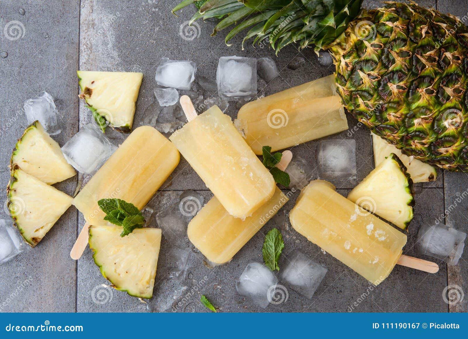 Homemade Pineapple Popsicles Stock Image - Image of lollipops