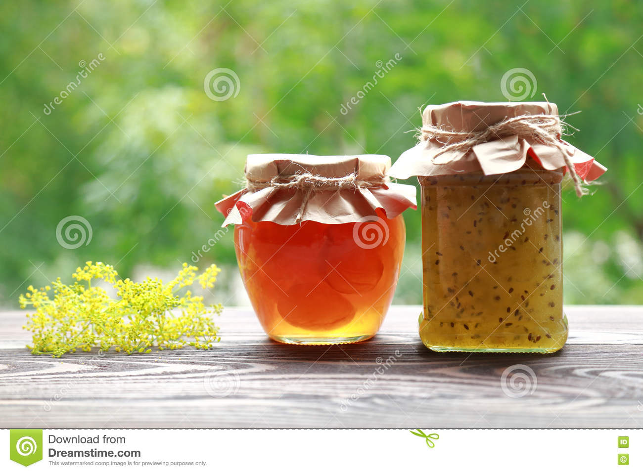 Homemade Fruit Jam In The Jar On Nature Background