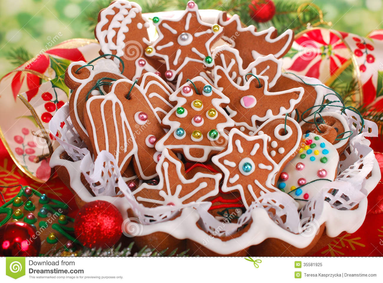 Homemade Gingerbread Cookies For Christmas Tree Stock Image Image