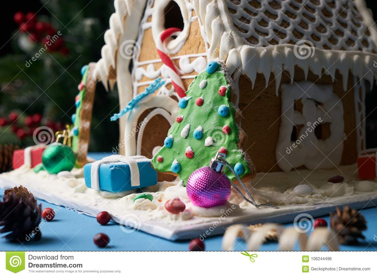 Homemade Gingerbread Cookies With Christmas Trees Stock Photo