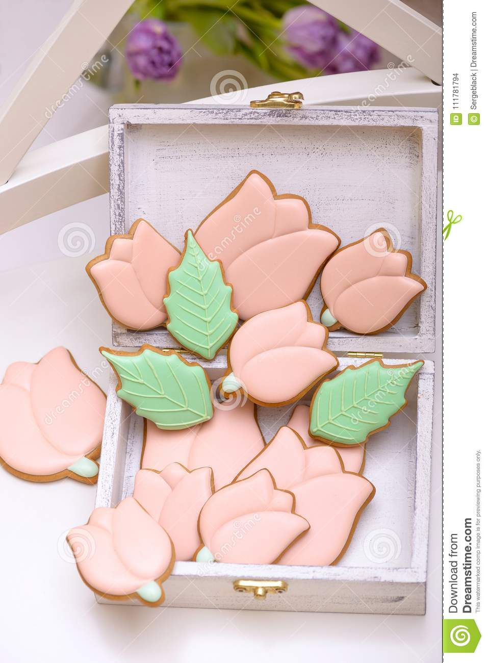 Homemade gingerbread cookies in the shape of tulips