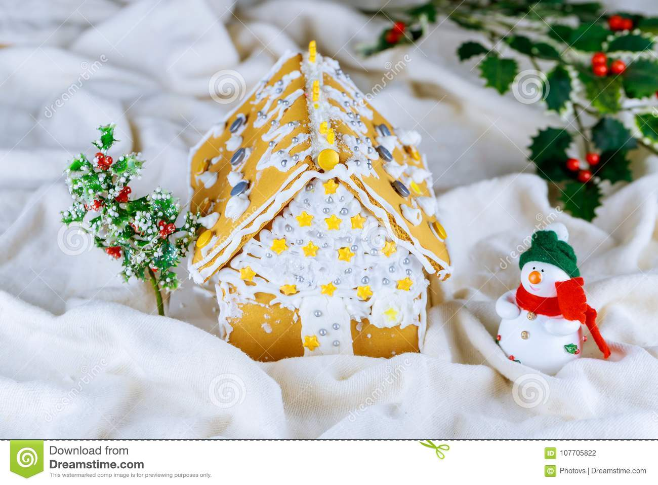 Homemade Gingerbread House With Christmas Decorations Artificial