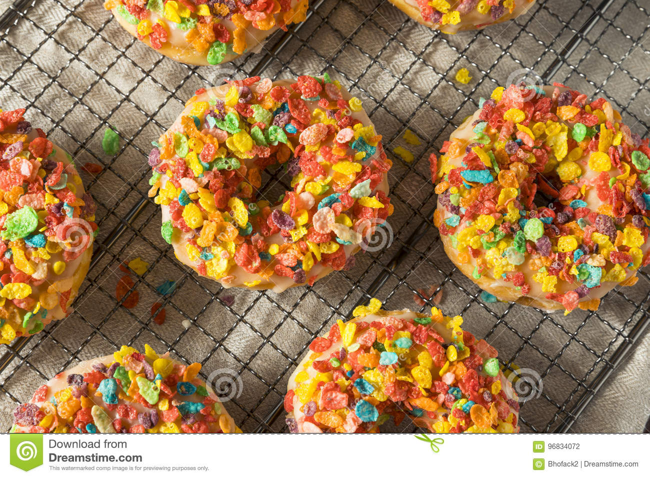 Homemade Gourmet Donuts With Cereal On Top Stock Photo