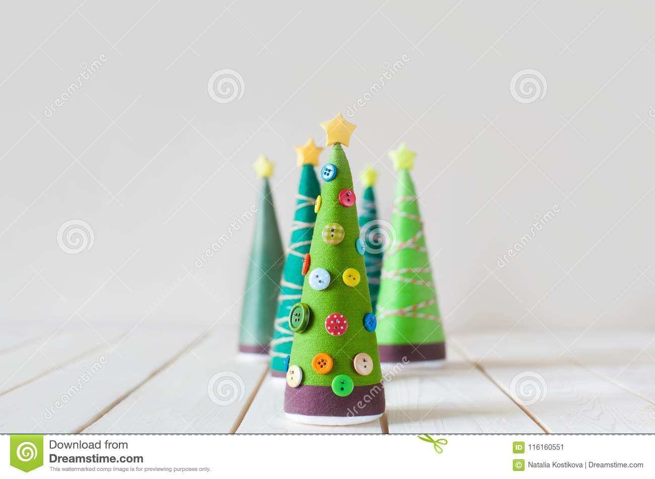 Homemade Green Christmas Trees, Decorated With Buttons And Threa ...