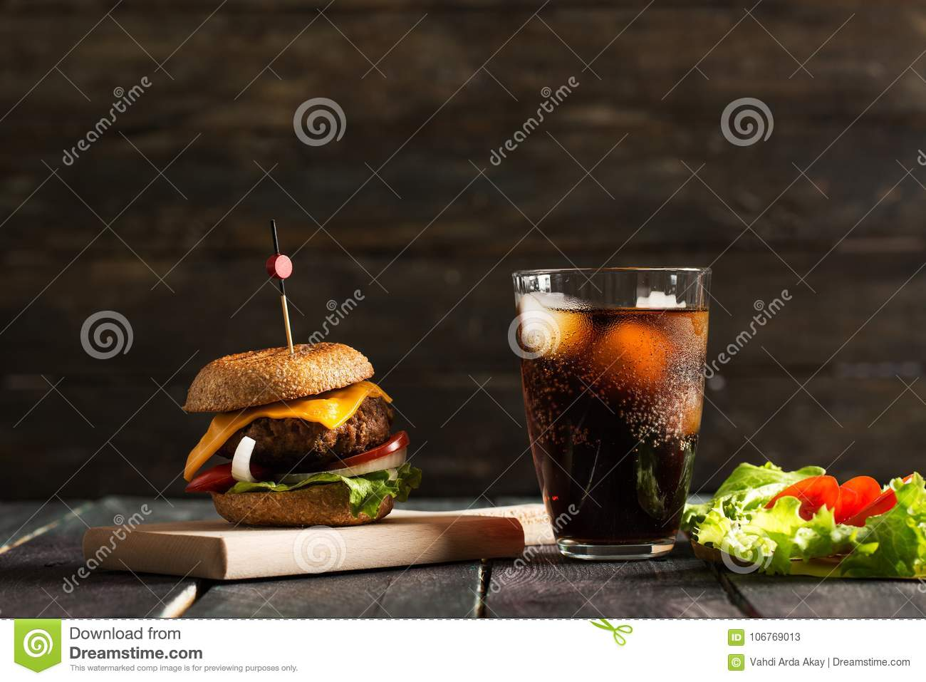 Homemade Hamburger on Wooden Background