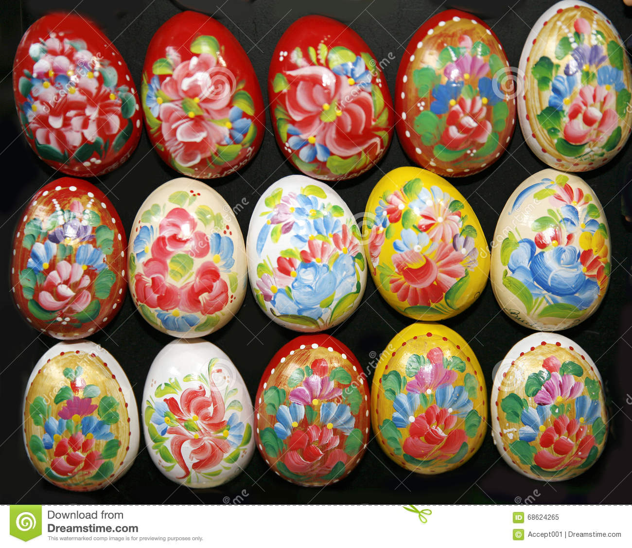 homemade hand painted easter eggs decoration of various colors