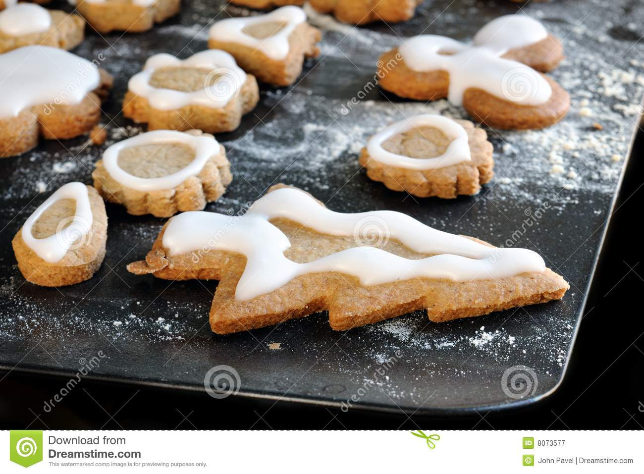 Homemade Iced Gingerbread Biscuits Cookies Stock Image Image Of