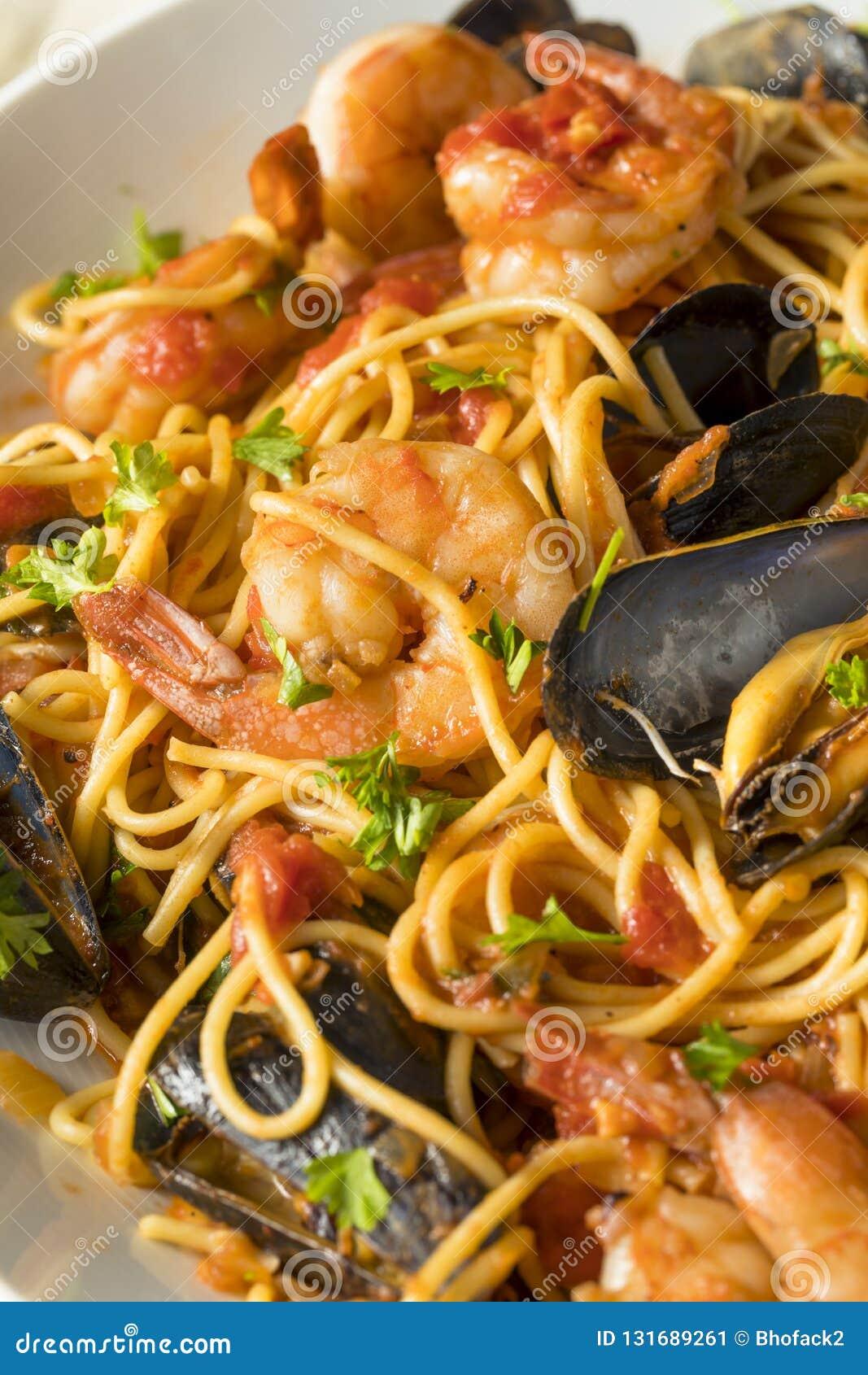 Homemade Italian Seafood Pasta Stock ...