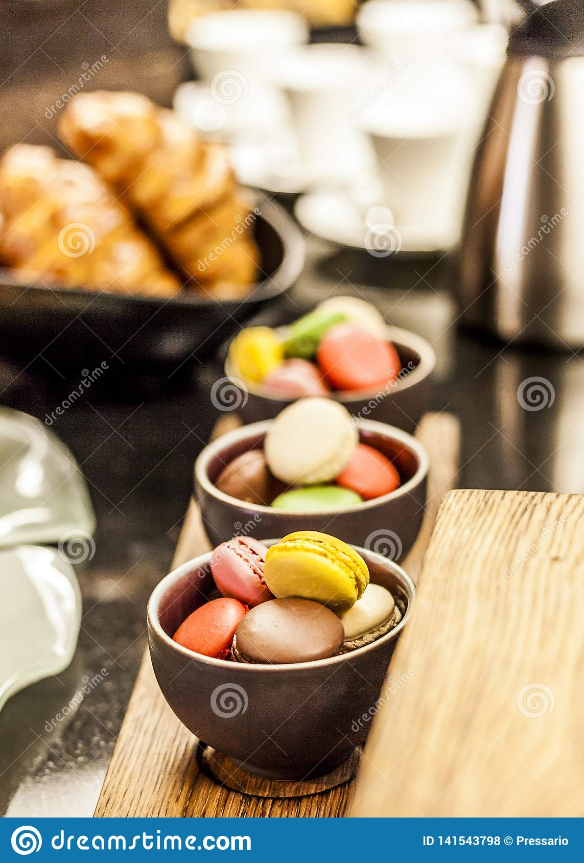 Cool Homemade Macaroons At A Breakfast Buffet Table Stock Photo Home Interior And Landscaping Eliaenasavecom