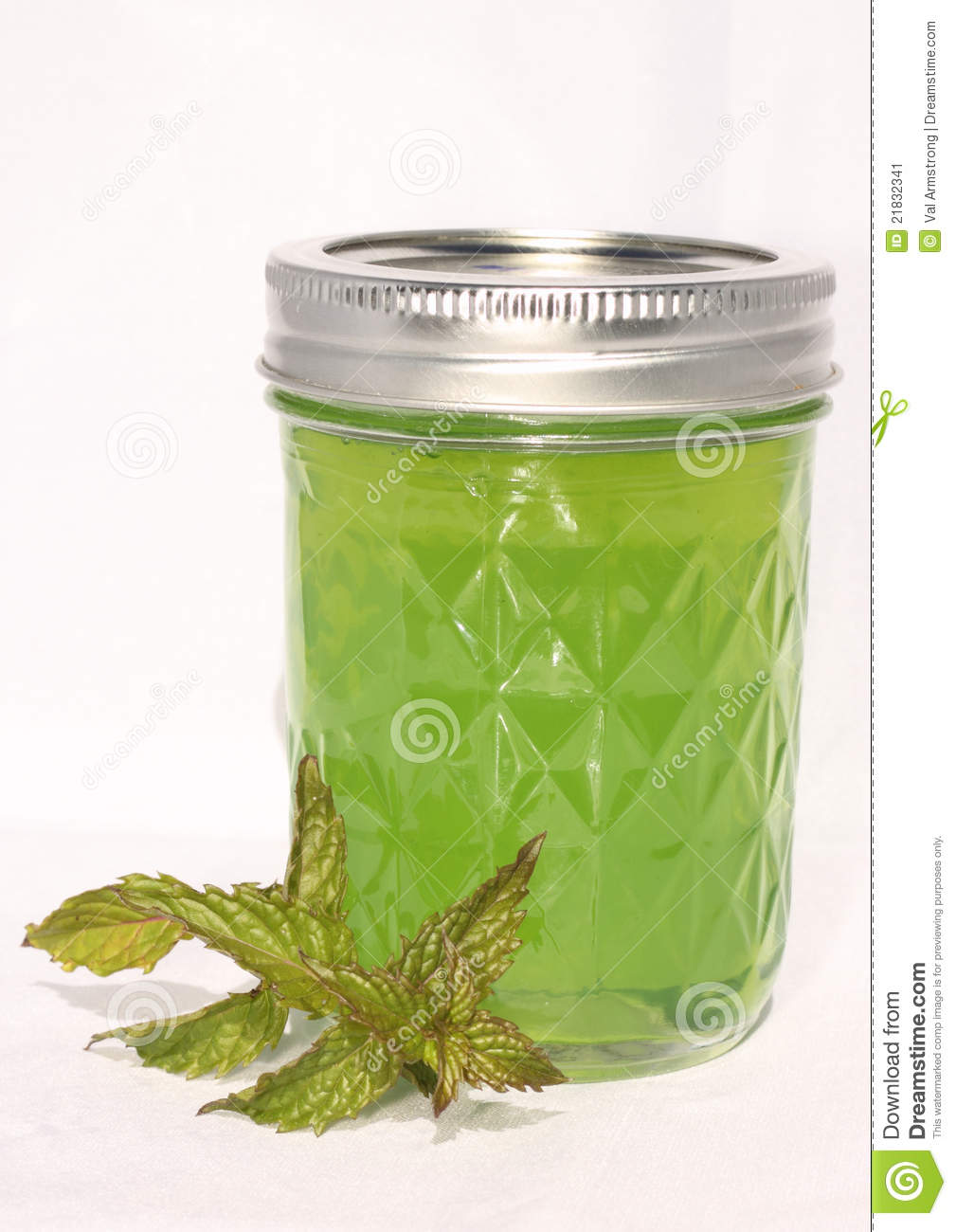 Mint jelly with a mint leaf. Home canning and preservation image in ...