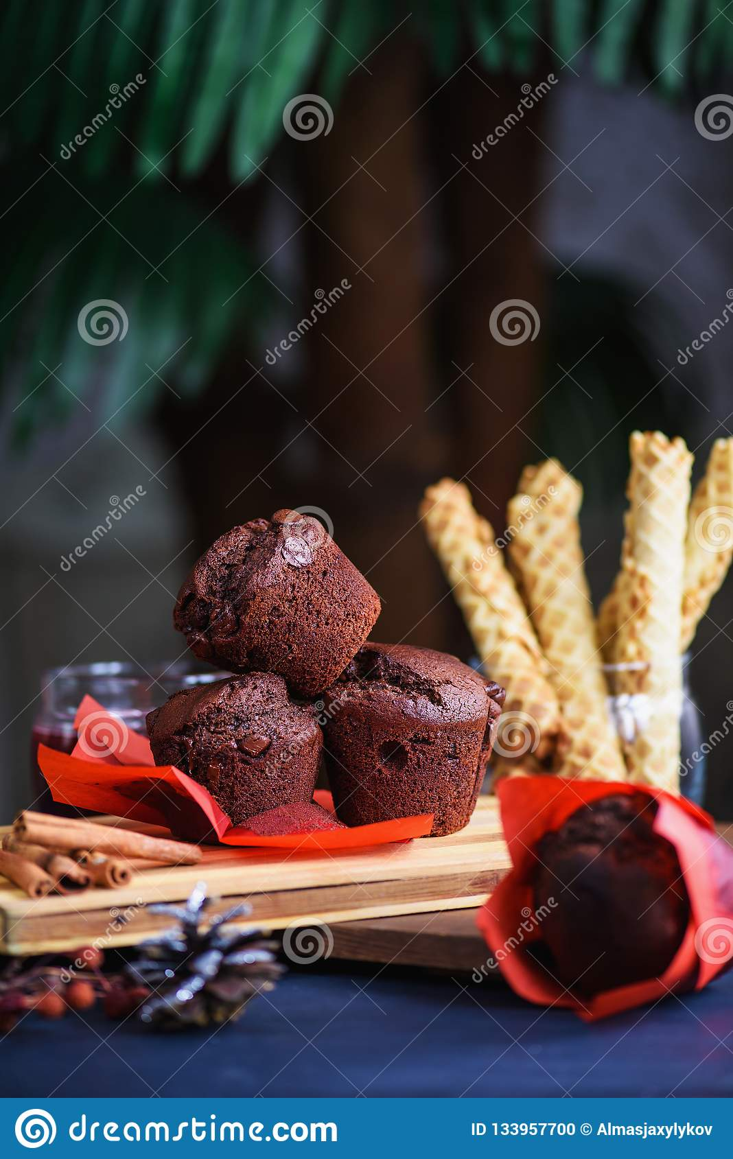 Homemade muffins with chocolate