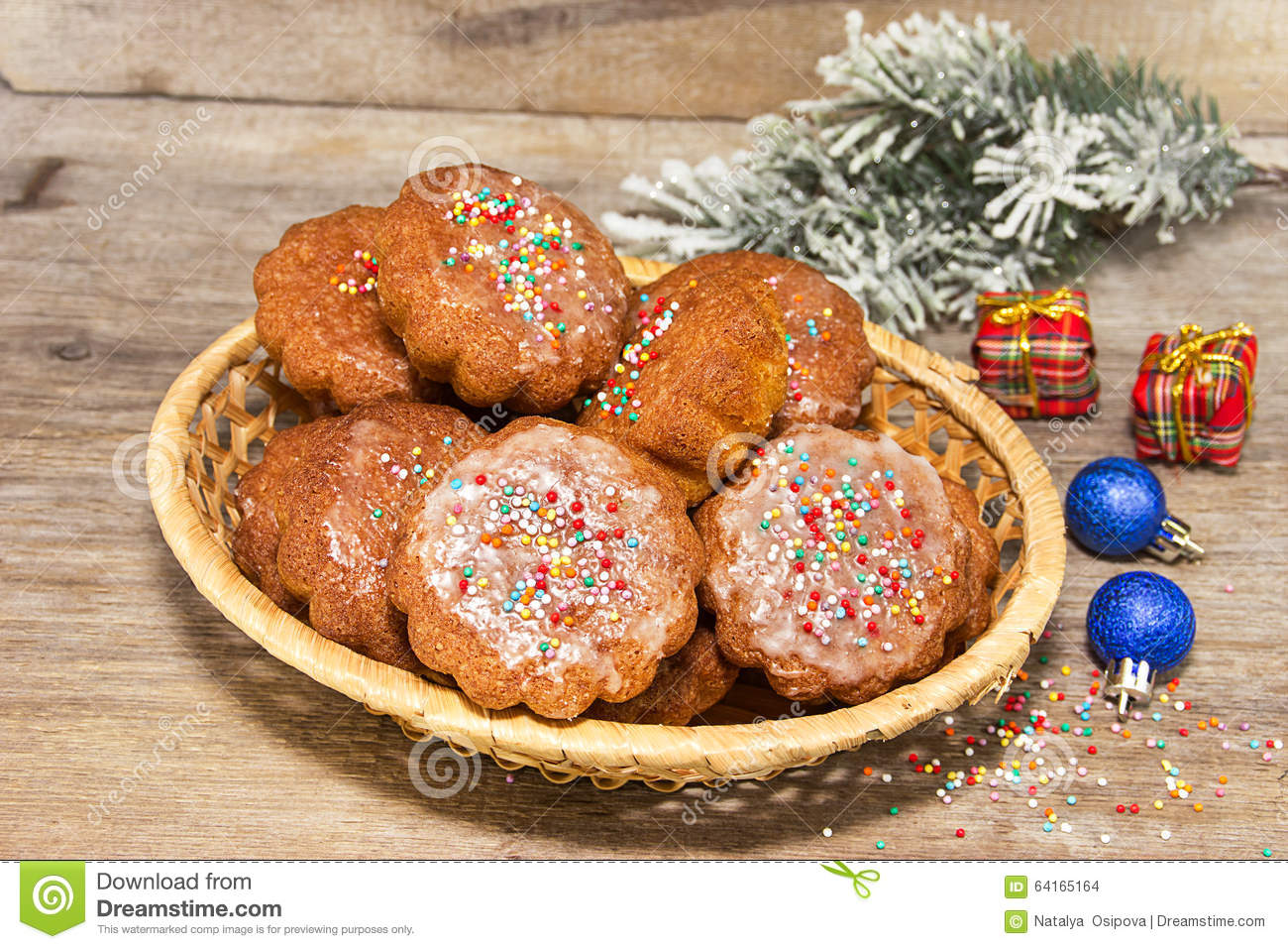 Homemade Muffins In The New Year Decoration Stock Photo Image 64165164