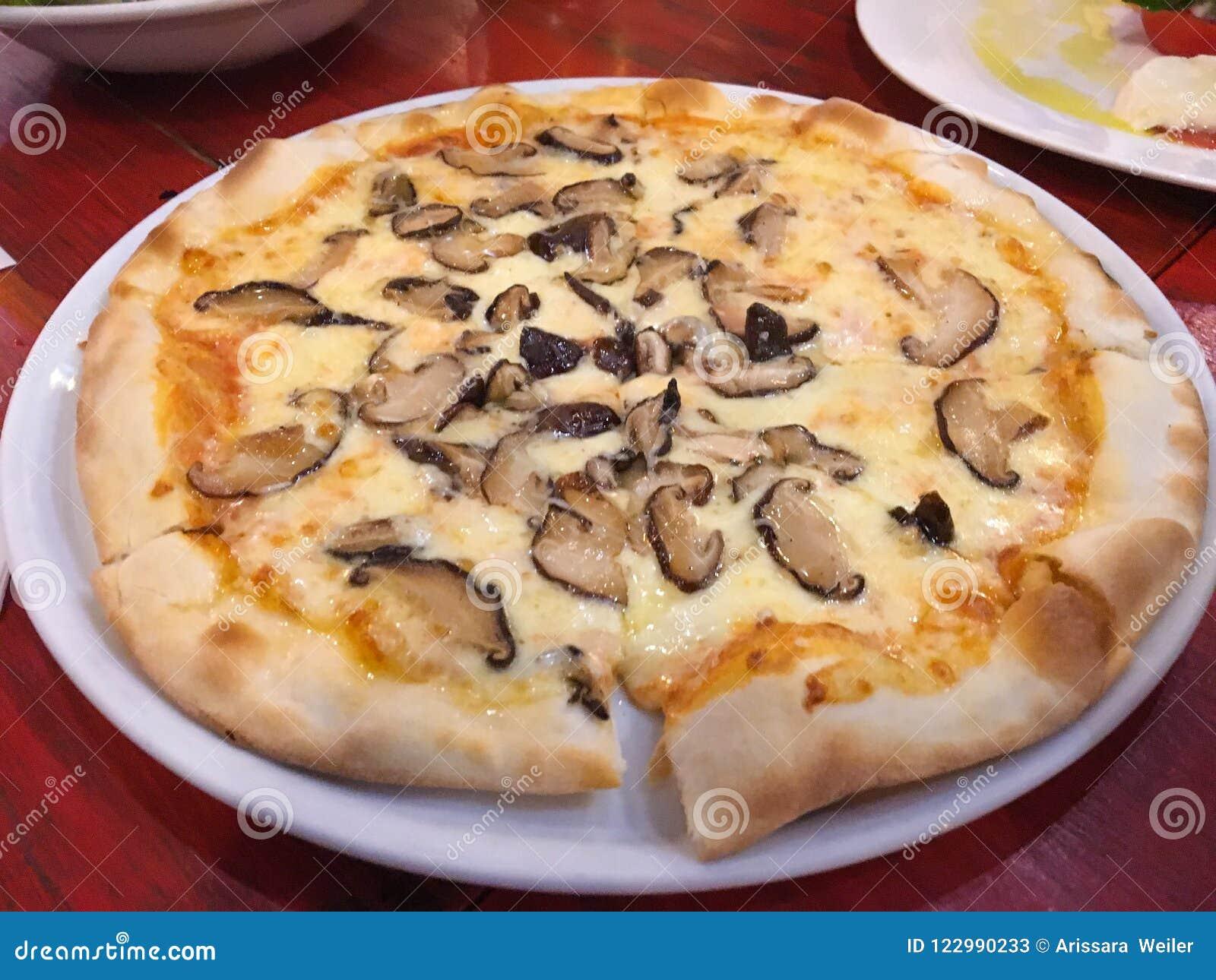 Homemade Mushroom Truffle Pizza With Cheese Stock Image Image Of