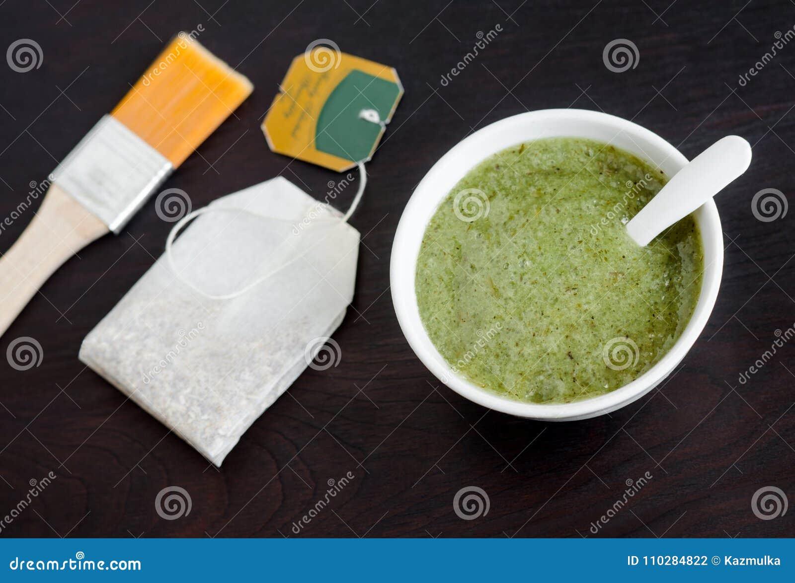 Homemade natural mask scrub with sea salt and green tea extract. Diy cosmetics.