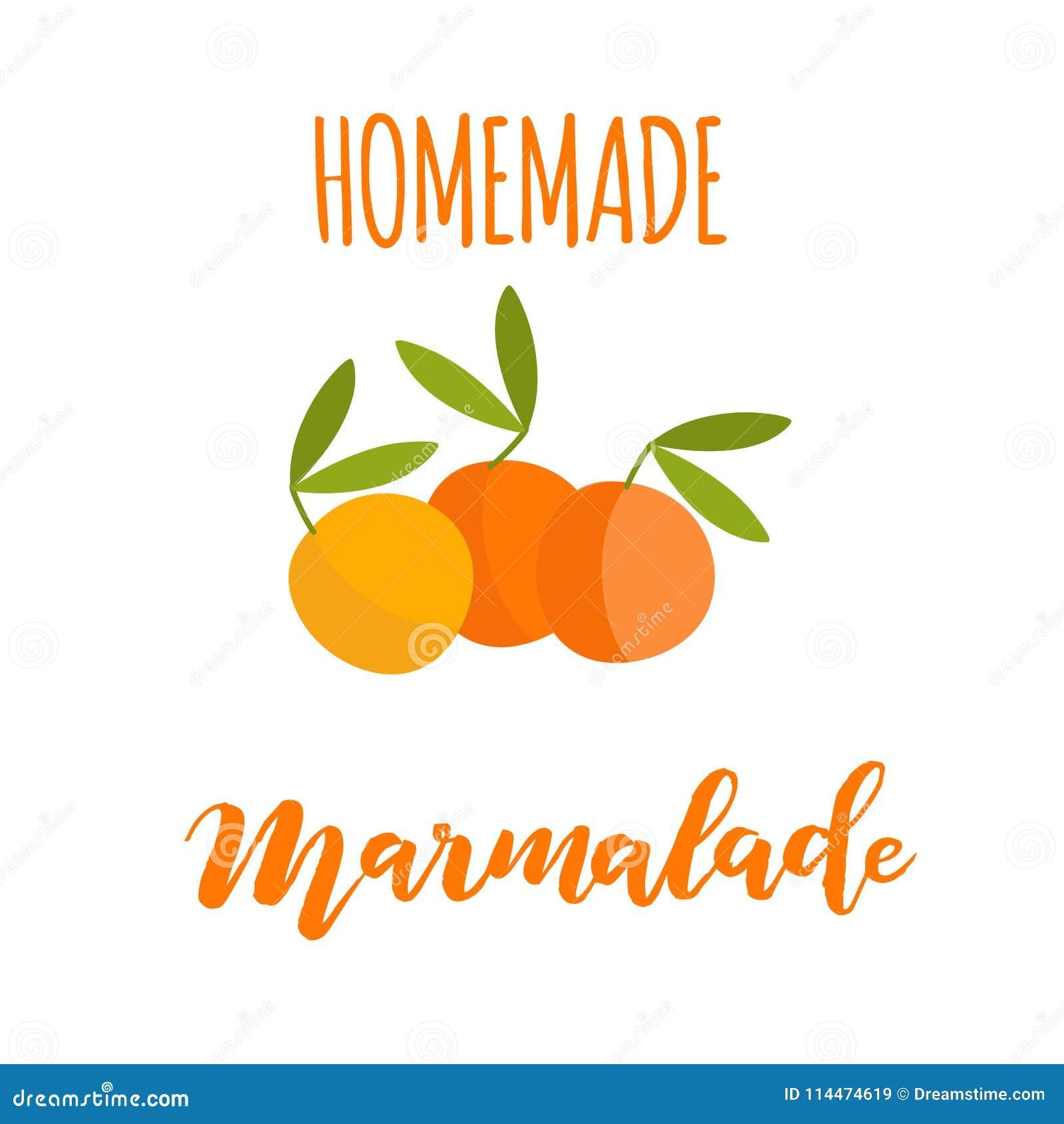 homemade orange marmalade jam label template stock illustration