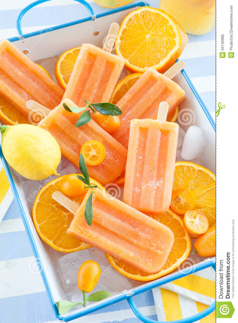 Homemade orange popsicles royalty free stock photo for Who invented frozen popsicles and in what year