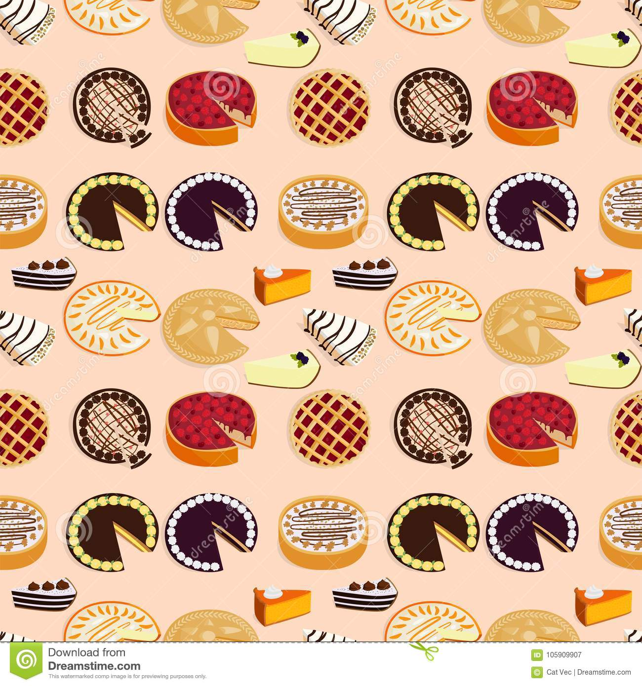 Homemade organic pie dessert vector illustration fresh golden rustic gourmet bakery seamless pattern background.