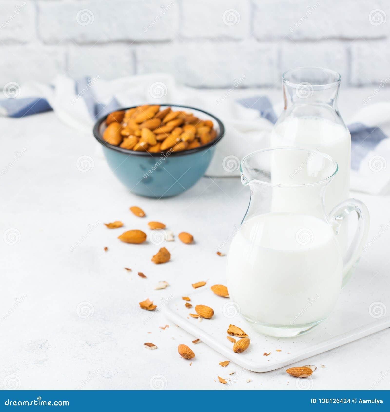 Homemade Organic Vegan Non Diary Almond Milk Stock Photo ...